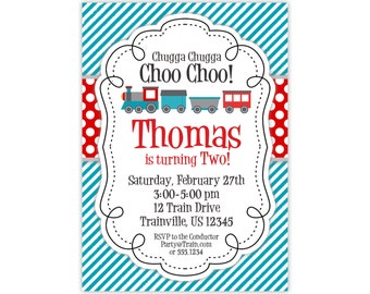 Train Invitation - Turquoise Stripes, Red Polka Dots, Gray Little Engine Train Personalized Birthday Party Invite - Digital Printable File