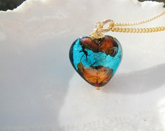 Venetian Murano Glass Heart Necklace