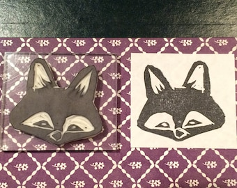 Hand carved vixen rubber stamp