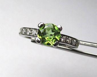 Spectacular Peridot in an Accented Sterling Silver Ring