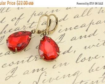 20%OFF SALE Vintage Ruby Red Earrings, Large Rhinestone Earrings, Wedding Jewelry