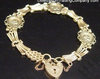 14k Yellow Gold Cherub Angel Victorian Heart Lock Padlock Coin Bracelet 10.6 Grams