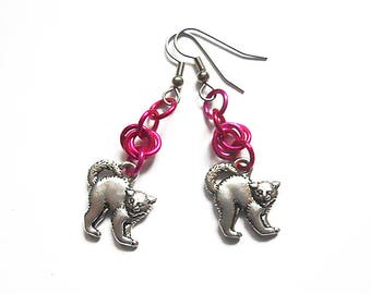Pink pussy earrings, Bright pink cat jewelry, Kitty earrings, Feminist jewelry, Planned Parenthood support jewelry, Pink pussy jewelry