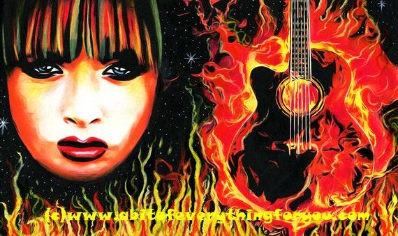 fire woman guitar rock goddess original art painting music flaming guitar pop rock and roll flames art music fantasy artwork goth