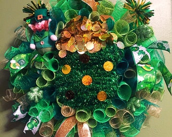 SALE!!!  READY to SHIP! St. Patrick's Day Wreath, St. Patty's Day Wreath, Irish Wreath, Leprechaun Wreath, Pot of Gold Wreath, St Patricks