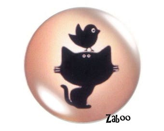 2 cabochons 18mm glass, cat and bird, champagne and black