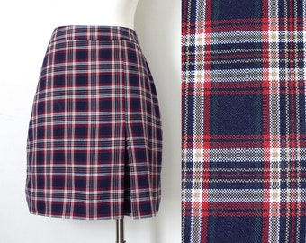 Vintage Navy and Red Plaid School Girl Uniform Skirt with Kick Pleat and Built In Shorts - Size 5