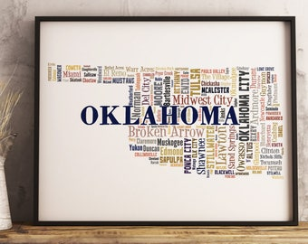 Oklahoma Map Art, Oklahoma Art Print, Oklahoma City Map, Oklahoma Typography Art, Oklahoma Poster Print, Oklahoma Word Cloud