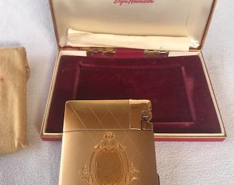 Vintage Cigarette Case Lighter Elgin American Magic Action Lighter