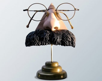 Eyewear Display Art Object, Nietzsche Nose Eyeglass figurine, gift for him, eyeglasses accessory, Father's day gift