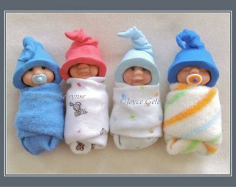 Polymer Clay Babies, Cute Poster, Card or eCard, Instant Download, You Print, Elf Hats, Sculptures