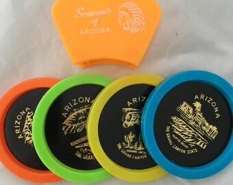 Mid Century Souvenir Coaster Set - Arizona - EXCELLENT Condition - Made in Hong Kong