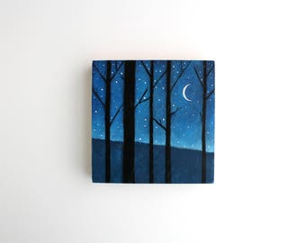 Forest at Night Painting - 5 x 5
