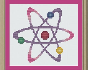 Colorful atom: nerdy cross-stitch pattern