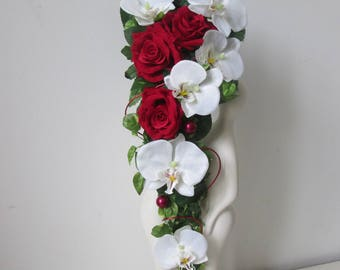 Bouquet of bride, waterfall, fall, falling, orchids, white and red roses