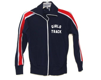 Vintage 80s track jacket Bay girls track navy blue red striped winning ways 70s