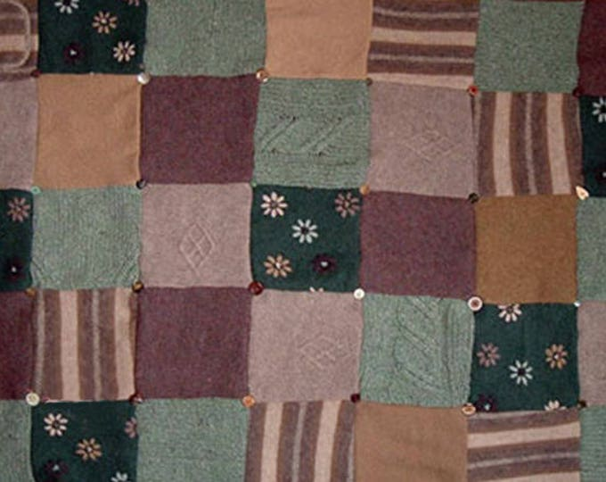 """My """"Laughing Heather"""" Wool Sweater Quilt — I can make one similar for you!"""