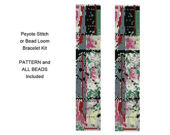 Delica Bracelet Bead Loom Weaving KIT P19 - Includes Pattern and Beads - Peyote Stitch Bracelet Kit - ClaireFreeform10