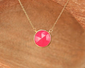 Pink chalcedony necklace - gold bezel necklace - october birthstone jewelry - floating necklace - circle necklace