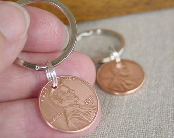 Quick 1 Day Processing, Couples Gift, Set of 2 Lucky Penny Keychains, Copper Anniversary, 7th Anniversary Gift, Husband Gift, Wife Gifts