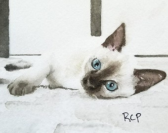 Siamese Kitten Seal Chocolate Point ACEO Art Original Painting miniature art watercolor
