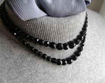 vintage 1950s LAGUNA 2 strand choker necklace with black jet faceted beads