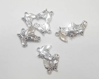 10 charms silver horse head size 2 x 1.50 cm