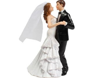 Wedding cake topper Bride and Groom holding hands