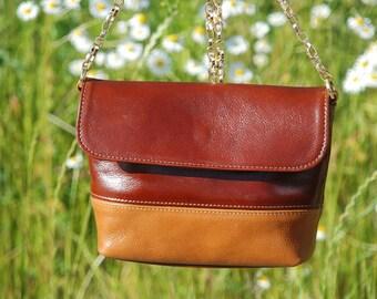 Leather Crossbody Bag - Camel&Cognac - Small Crossbody Bag, Leather Messenger Bag, Small Shoulder Bag, Leather Purse Crossbody, Crossbody