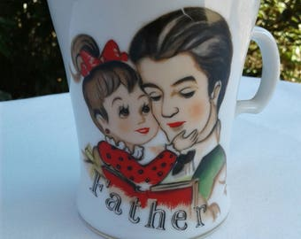Vintage Retro Father's Coffee Mug for Dad Tea Cup Father's Day Coffee Cup Small girl with her Dad Numbered 435