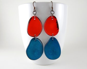 Orange and Dark Turquoise Blue Tagua Nut Eco Friendly Earrings with Free USA Shipping #taguanut #ecofriendlyjewelry