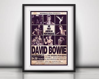 David Bowie 1972 His First USA Concert - Prints or Poster available in Three Sizes