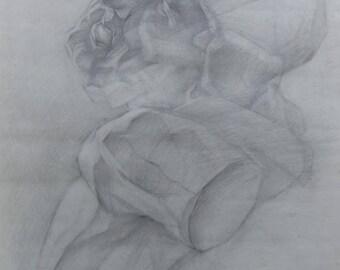 Laocoon Original Drawing Academical Anatomy  Vintage Pencil  Dark Tone Picturе  Classical Sculpture