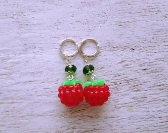 Raspberries Raspberry Earrings Earrings whis raspberry Summer earrings Red earrings red raspberry Berries berry earrings whis berries