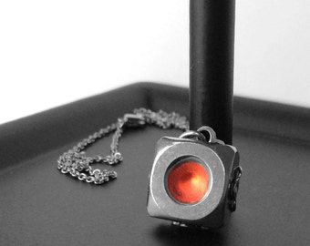 Square Pendant Necklace, Stainless Steel Jewelry for Women, Resin Jewelry, Customizable Jewelry, Gifts for Her