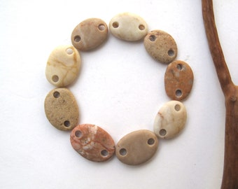 Stone Beads Double Drilled Rock Connectors Mediterranean Beach Stone Links River Stone Beads Pebble Beads Diy Jewelry SMOOTH LINKS 15-17 mm