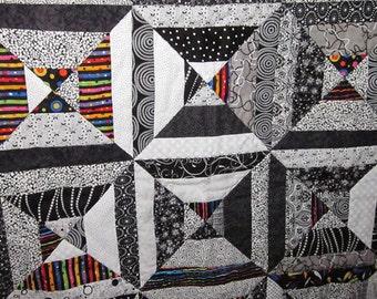 Black and White Stripes Lap Quilt