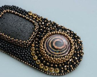 Bead embroidery necklace. Spiral Vector. Glass beads.