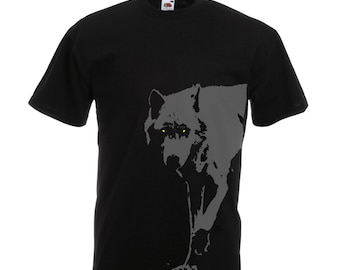 Wolf shirt, wolf tshirt, wolf t shirt, black and grey wolf tee shirts. Gift for guy wolf spirit animal, manly gifts for boys, original art