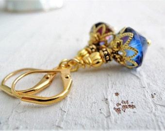 Blue Purple Czech Glass Earrings Sapphire Amethyst Czech Glass Dangles Gold Earrings Purple Earrings Blue Earrings Small Gold Earrings