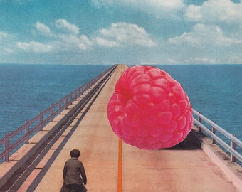 """Collage Art, Surreal Art, Archival Print, Home Decor - """"Obstacle"""""""