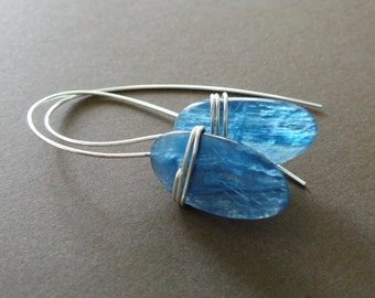 Blue Kyanite Slab Sterling Wrapped Earrings Organic Primitive Jewelry - Special Collection