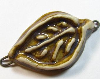 Ceramic Pendant, Ceramic Leaf, Clay Leaf, Leaf Pendant, Bracelet Bar, Bracelet Focal, Jewelry Leaf