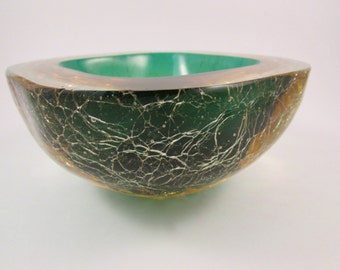 Vintage Murano Crackle Glass Geode Bowl Layered Green Amber and Clear Glass Italian Art Glass Bowl