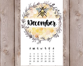 Watercolor Floral Wreath Bees Calendar Monthly Journal Spread Print