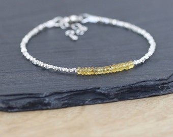 Padparadscha Sapphire, Sterling & Karen Hill Tribe Silver Bracelet. Dainty Yellow Gemstone Stacking Bracelet. Thin Delicate Beaded Bracelet