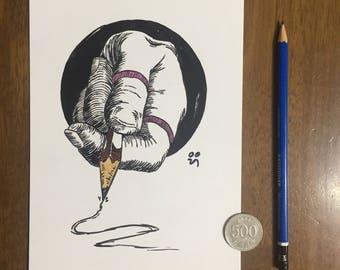 Doodling Hand - Original Drawing