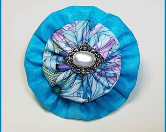 Yo Yo Blue Floral Hair Bow / Yo-Yo Flower / Clip / YoYo Fabric & Button