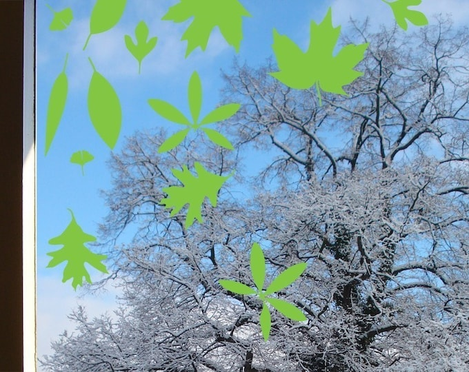 Leaf Window Stickers, Green Spring Wall or Window Leaves