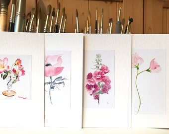 Mixed Card Set Pink Floral 4 Watercolor Greeting Cards Gift for Mom Assorted Watercolour Flower Cards Garden Flower Note Cards for Gran